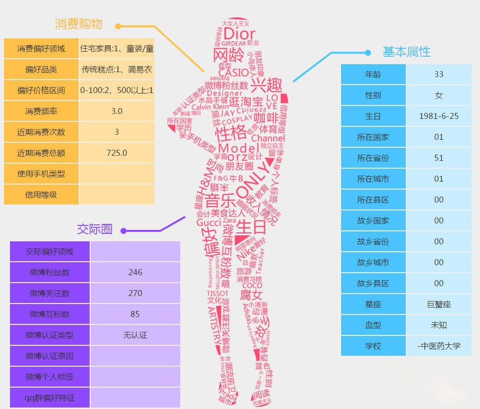 通过算法分析得出的个人行为数据
